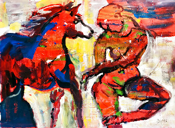 Sunset Beach Horseback Ride Original 2021 48x60 Huge Original Painting - Giora Angres