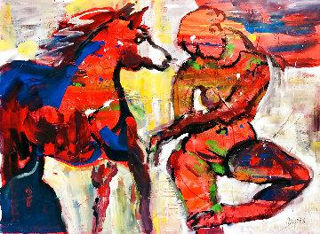 Sunset Beach Horseback Ride Original 2021 48x60 Super Huge Original Painting - Giora Angres