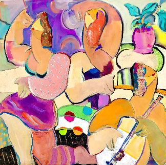 Good Times 2002 48x48 Huge Original Painting - Giora Angres