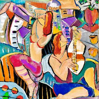 Les Musique 2002 48x48 Huge Original Painting - Giora Angres