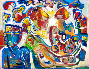 Relaxing Moments 2018 48x60 Super Huge Original Painting - Giora Angres