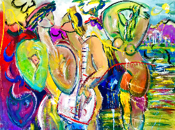 Fun in the Sun 2020 48x60 Huge  Original Painting - Giora Angres