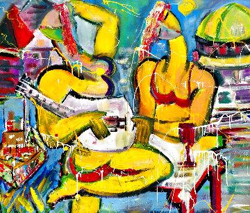 Beach Break 2002 48x54 Huge  Original Painting - Giora Angres