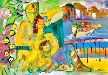 Happy Family 2018 48x58 Huge Original Painting - Giora Angres