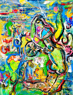 Leap of Faith 2020 60x48 Huge Original Painting - Giora Angres