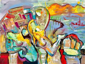 Spring Haze 2016 48x58 Huge Original Painting - Giora Angres
