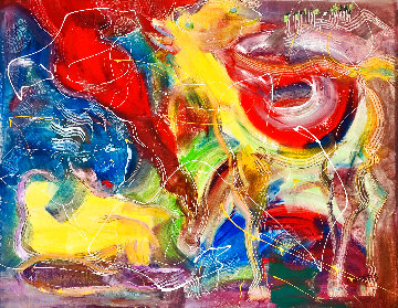 Girl With Horse 2016 48x58 Huge Original Painting - Giora Angres