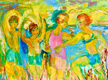Beach Yoga 2018 48x58 Huge Original Painting - Giora Angres