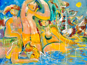 Marco? Polo? 2018 48x58 Huge Original Painting - Giora Angres
