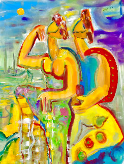 Reconciliation 2002 56x40 Huge Original Painting - Giora Angres