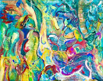 Twin Palms 2018 48x58 Huge Original Painting - Giora Angres