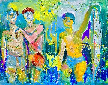 Surfn' Dudes 2021 48x58 Huge Original Painting - Giora Angres