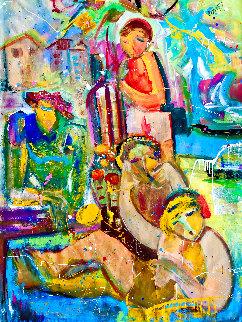 Laid  Back 2021 48x60 Original Painting - Giora Angres