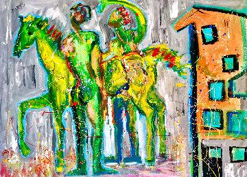 Casa De Caballo 2017 48x60 Huge  Original Painting - Giora Angres