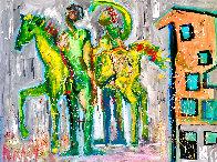 Casa De Caballo 2017 48x60 Huge  Original Painting by Giora Angres - 1