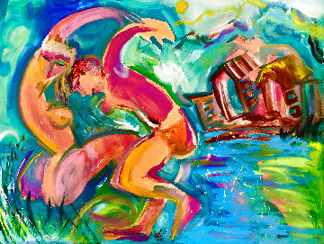 Falling For You 2017 48x58 Huge  Original Painting - Giora Angres