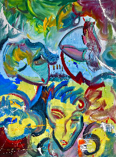 Rock Star 2017 60x48 Huge  Original Painting - Giora Angres