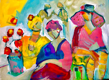 Be Aware 2021 46x56 Huge (Breast Cancer) Pink on Pink  Original Painting - Giora Angres