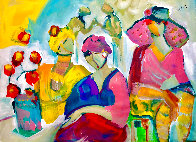 Be Aware 2021 46x56 Huge <br />(Breast Cancer) Pink on Pink  Original Painting by Giora Angres - 1