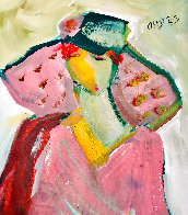 Be Aware 2021 46x56 Huge <br />(Breast Cancer) Pink on Pink  Original Painting by Giora Angres - 3