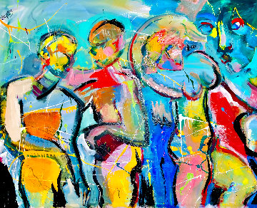 Indigo Tides 2002 48x58 Huge Original Painting - Giora Angres