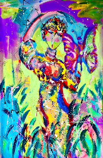 You Give Me Butterflies 2002 56x46 Huge  Original Painting - Giora Angres
