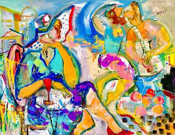 Liquid Passion 2002 48x58 Huge  Original Painting - Giora Angres