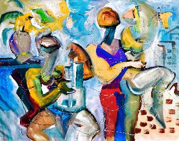 New York Rhapsody 2004 48x58 Huge  Original Painting - Giora Angres