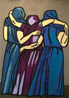 Las Dolientes Wool Tapestry 1976 61x40 Super Huge Tapestry - Raul Anguiano