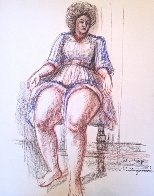 Muchacha En Azul 1985 26x20 Works on Paper (not prints) by Raul Anguiano - 0