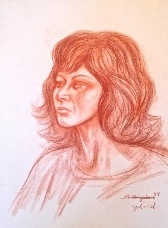 Retrato De Mujer California Pastel 1984 24x18 Works on Paper (not prints) by Raul Anguiano