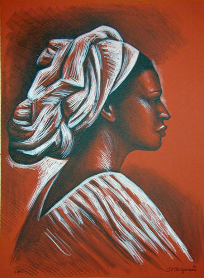 Woman with Turban 1981 Limited Edition Print by Raul Anguiano