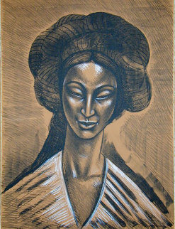 Oriental Smile 1982 Limited Edition Print by Raul Anguiano