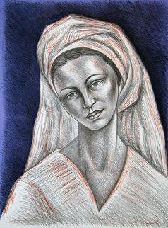 Mujer Con Rebozo Blanco 1981 Limited Edition Print - Raul Anguiano