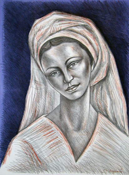 Mujer Con Rebozo Blanco 1981 Limited Edition Print by Raul Anguiano