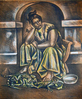 Iguana Seller 1983 Limited Edition Print by Raul Anguiano