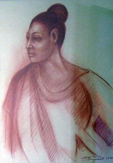 Mujer De Ocotlan 1990 40x34 Original Painting - Raul Anguiano