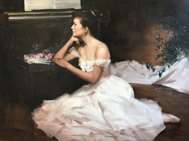 Ballerina Panse Sa Loge 1994 38x48 Original Painting by  An He