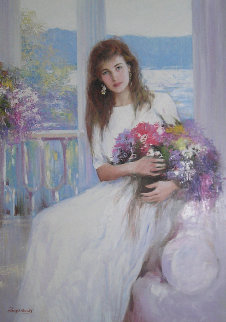 Woman With Flowers 1989 47x37 Original Painting by  An He
