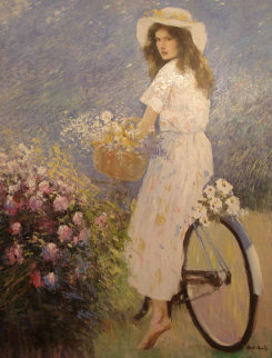 Girl on the Bicycle 45x35 Huge Original Painting -  An He