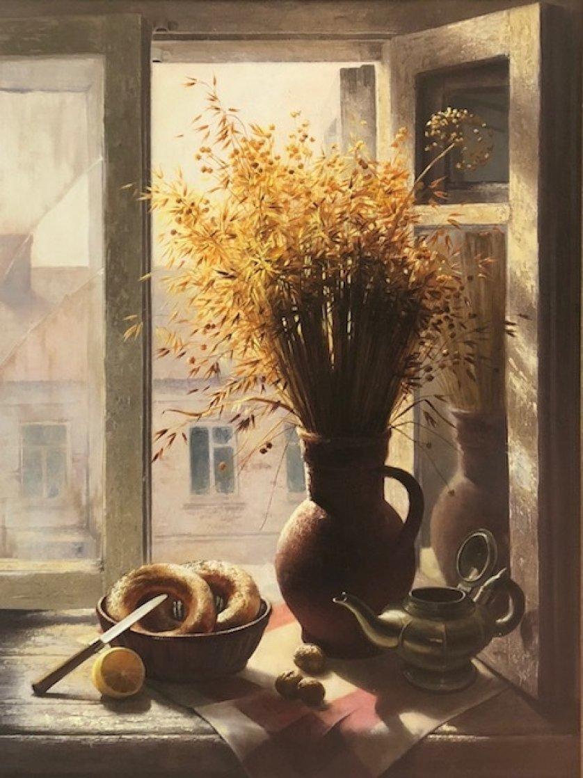 My Window With Bagel 1990 45x35 Super Huge Original Painting by Dmitri Annenkov