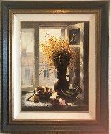 My Window With Bagel 1990 45x35 Super Huge Original Painting by Dmitri Annenkov - 2
