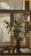 Pleasures of Winter 1990 45x35 Super Huge Original Painting by Dmitri Annenkov - 2