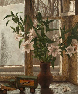 Pleasures of Winter 1990 45x35 Original Painting by Dmitri Annenkov