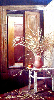 Chair and Wheat 2003 48x30 Super Huge Original Painting - Dmitri Annenkov