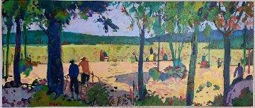 Banyoles I 1998 28x54 Original Painting - Manel Anoro