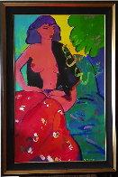 Dona Amb Roba Vermella 63x38 Original Painting by Manel Anoro - 1