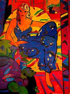 Dona Amb Vesti Blau 1994 59x46 Original Painting - Manel Anoro