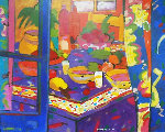 Table 1995 33x40 Original Painting - Manel Anoro