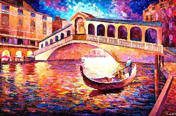 Sweet Dreams on a Gondola 2014 32x44 Original Painting - Alexander Antanenka